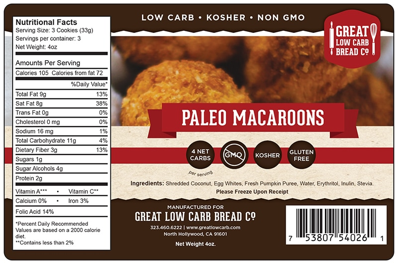 Great Low Carb Paleo Macaroons 4oz