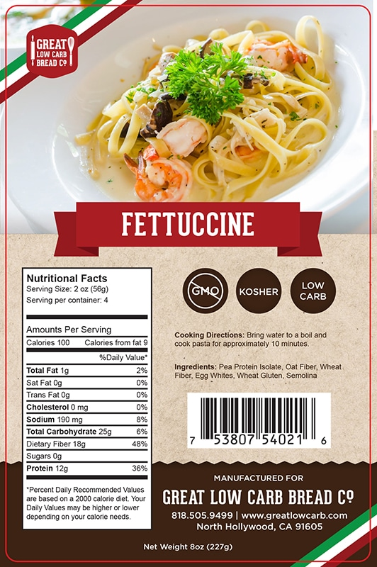 Great Low Carb Pasta Fettuccine 8oz Great Low Carb Bread Company
