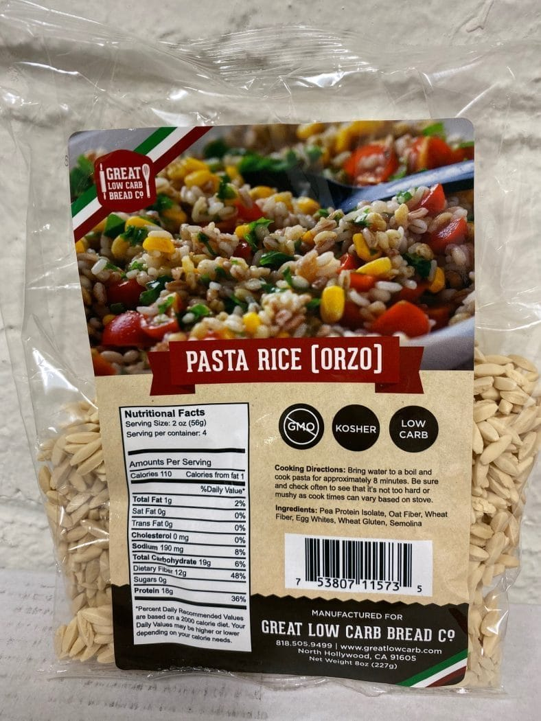Great Low Carb Pasta Rice(orzo) 8oz Bags. Case Of 14 Bags