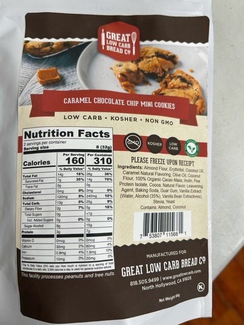 GREAT LOW CARB CARAMEL CHOCOLATE CHOCOLATE CHIP MINI COOKIES 64g