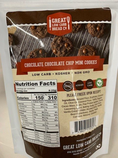 GREAT LOW CARB CHOCOLATE CHOCOLATE CHIP MINI COOKIES 64G