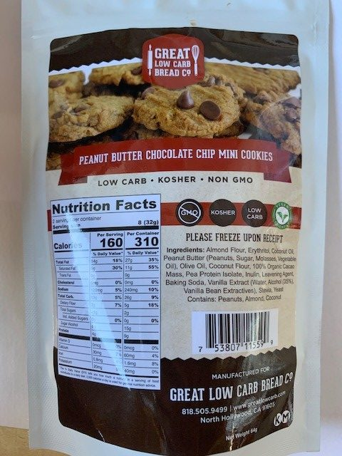 GREAT LOW CARB PEANUT BUTTER CHOCOLATE CHIP MINI COOKIES 64g