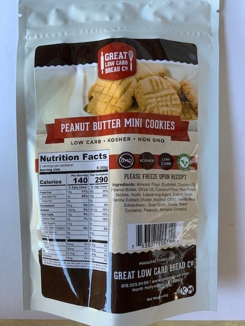 GREAT LOW CARB PEANUT BUTTER MINI COOKIES 64g